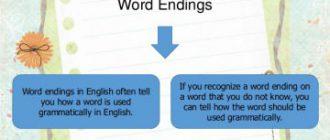 Основные окончания в английском